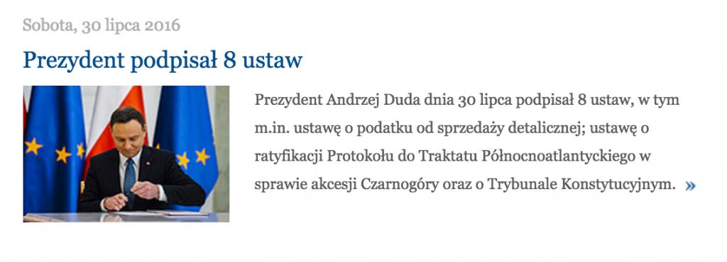 Zrzut ekranu ze strony prezydent.pl
