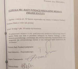 Uchwała o zmianie ststutu Fundacji Niezależne Media
