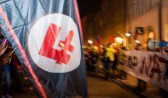 Falanga , sprzeciw wobec UE i NATO przed konsulatem USA , Krakow .