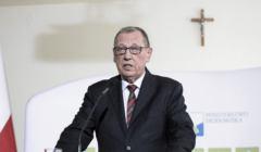 Konferencja prasowa ministra srodowiska Jana Szyszko