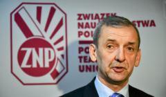 Prezes ZNP Slawomir Broniarz podczas konferencji prasowej pt.
