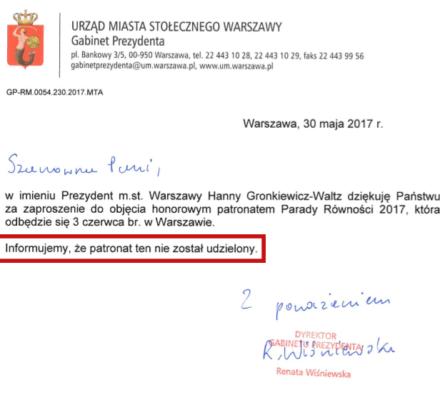 Gronkiewicz-Waltz nie idzie z Paradą Równości. OKO.press ujawnia szczegóły jedynego spotkania prezydent z działaczami LGBTI