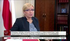 Julia Przyłębska podczas wywiadu o sprawie Kamińskiego w SN. Fot. screen TVP Info