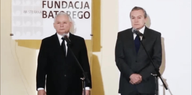 Znalezione obrazy dla zapytania kaczyński i gliński w fundacji batorego