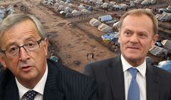 Juncker i Tusk na tle obozu uchodźców