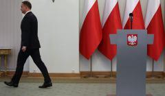 Prezydent Andrzej Duda podczas oswiadczenia