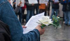 Protest na Rynku Glownym w Krakowie