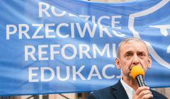 Sławomir Broniarz, demonstracja pod MEN, wrzesień 2017