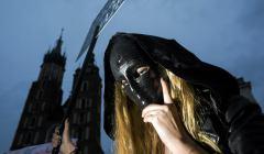 Protest Kobiet w Krakowie - Czarny Poniedzialek