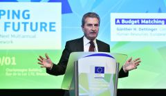 EU Commissioner Guenther Oettinger gives a speech during the