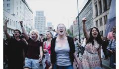 blokada przy metrze kobiety fot. Agata Kubis
