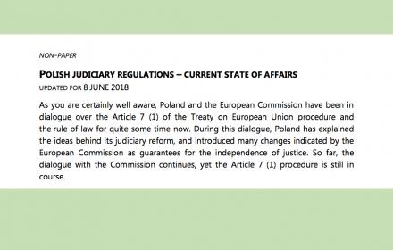 """Praworządność już """"gwarantowana"""", procedura z art. 7 """"bezzasadna"""". Ujawniamy nieoficjalny rządowy dokument rozsyłany w Brukseli"""