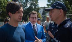 Konferencja prasowa w Warszawie osob zatrzymanych przez policje podczas protestu pod Sejmem