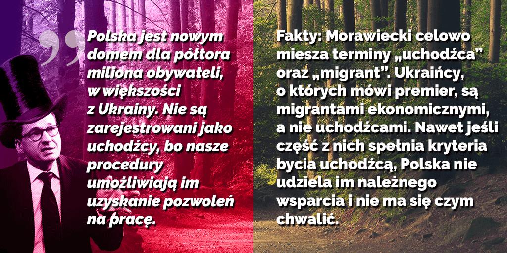 Infografika dotycząca ilości migrantów z Ukrainy w Polsce wg. Premiera Morawieckiego