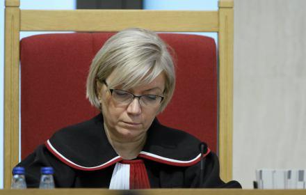 Julia Przyłębska podczas rozprawy w sprawie nowelizacjii ustawy o Trybunale Konstytucyjnym
