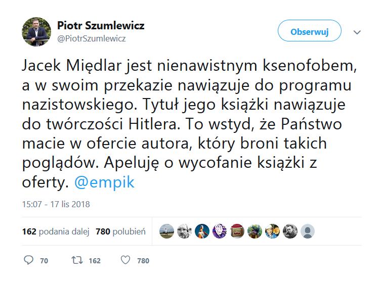 Jacek Międlar jest nienawistnym ksenofobem, a w swoim przekazie nawiązuje do programu nazistowskiego. Tytuł jego książki nawiązuje do twórczości Hitlera. To wstyd, że Państwo macie w ofercie autora, który broni takich poglądów. Apeluję o wycofanie książki z oferty.