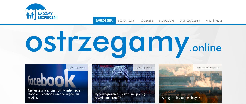 Strona główna portalu ostrzegamy.online prowadzonego przez fundację Rydzyka . Widać m.in. artykuł pt. Cyberprzestęczość - jak się przed nią bronić