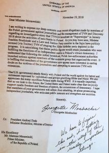 List Georgette Mosbacher do premiera Morawieckiego w sprawie TVN