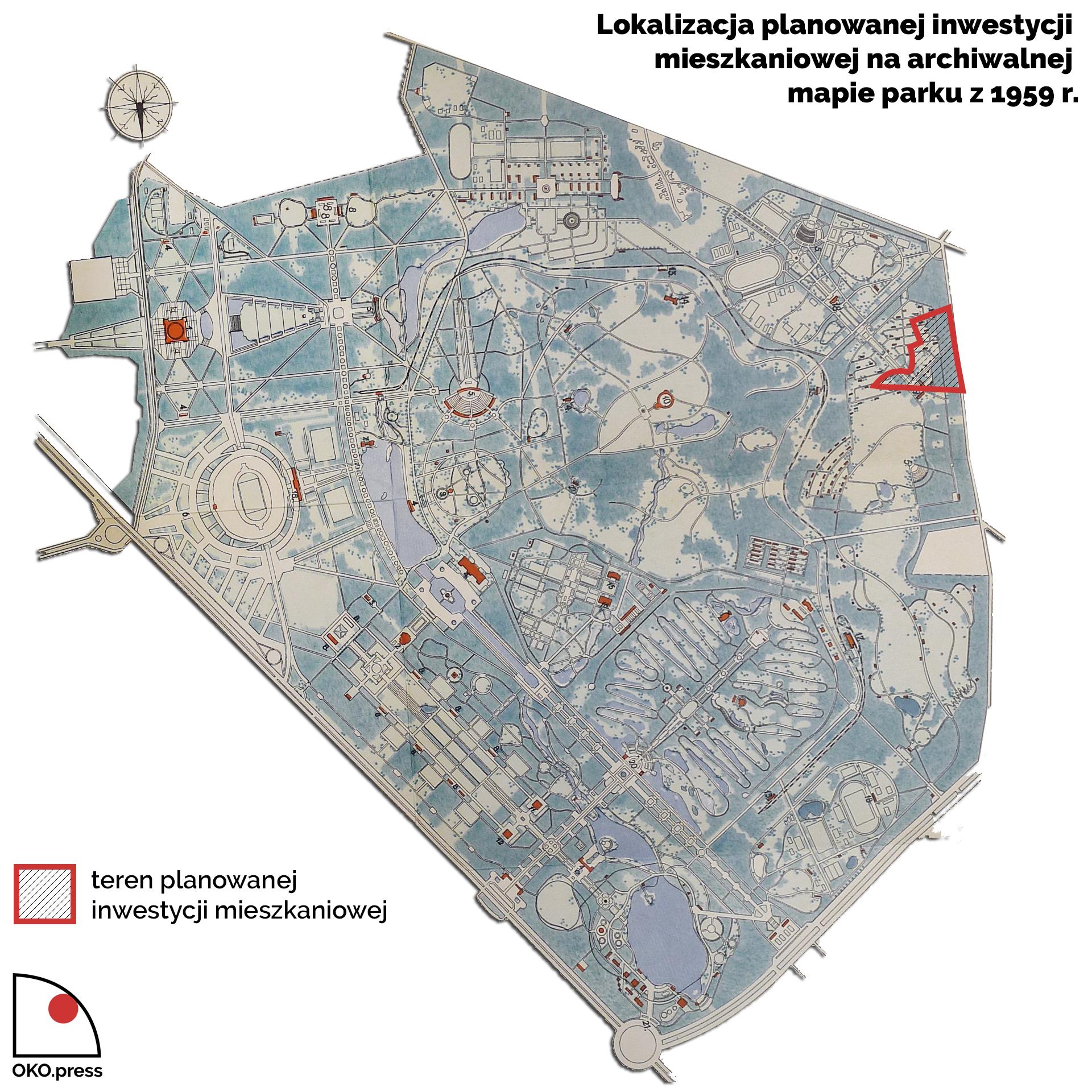 Lokalizacja planowanej inwestycji mieszkaniowej na archiwalnej mapie parku z 1959 r.