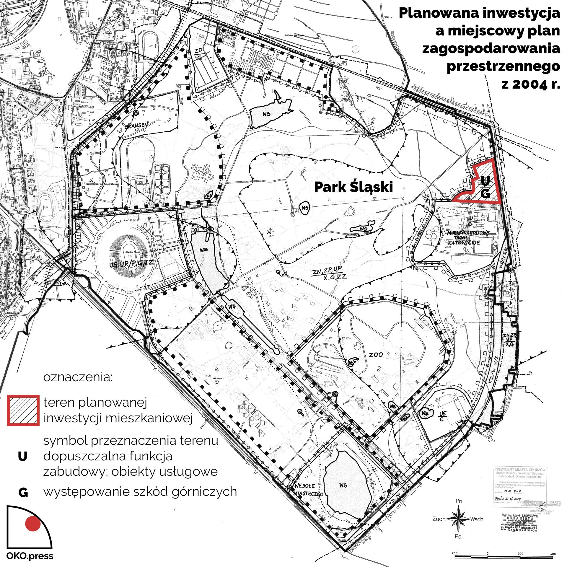 Planowana inwestycja przedstawiona na rysunku planu miejscowego Chorzowa