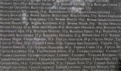Fragment pomnika ofiar masakry w Sahryniu, nawiska zabitych i ich wiek.