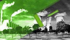 Elektrownia Bełchatów zamalowana częściowo zieloną farbą