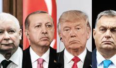 Zdjęcia polityków, od lewej: Kaczyński, Erdogan, Trump, Orban