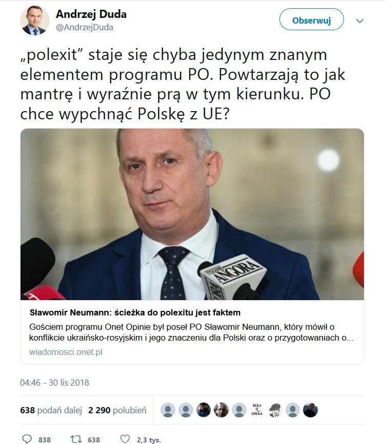 """polexit"""" staje się chyba jedynym znanym elementem programu PO. Powtarzają to jak mantrę i wyraźnie prą w tym kierunku. PO chce wypchnąć Polskę z UE?"""