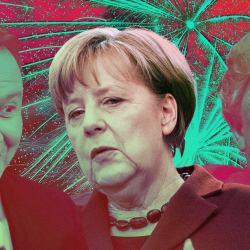 Politycy, od lewej: Andrzej Duda, Angela Merkel, Donald Trump