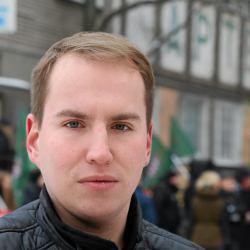 Adam Andruszkiewicz podczas demonstracji w Białymstoku