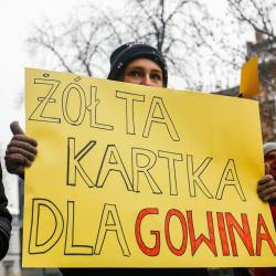 """Protestujący trzyma przed sobą żółty baner z napisem """"Żółta kartka dla Gowina"""""""