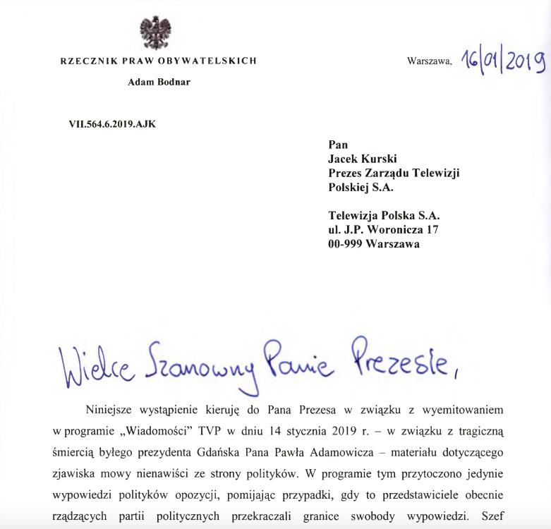"""Adam Bodnar, RPO, do Jacka Kurskiego: """"Materiał Wiadomości TVP całkowicie jednostronny"""", 16 stycznia 2019"""