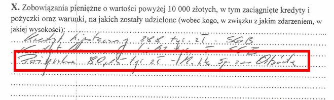 Fragment oświadczenia majątkowego Jarosława Bogusza z informacją o pożyczce
