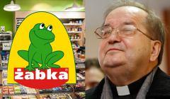 Tadeusz Rydzyk i logo sklepu Żabka