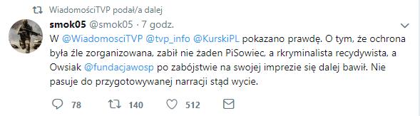 W @WiadomosciTVP @tvp_info @KurskiPL pokazano prawdę. O tym, że ochrona była źle zorganizowana, zabił nie żaden PiSowiec, a rkryminalista recydywista, a Owsiak @fundacjawosp po zabójstwie na swojej imprezie się dalej bawił. Nie pasuje do przygotowywanej narracji stąd wycie.