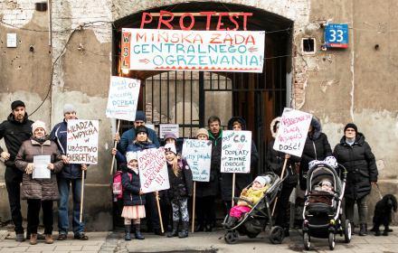 protest mieszkańców lokali bez centralnego ogrzewania