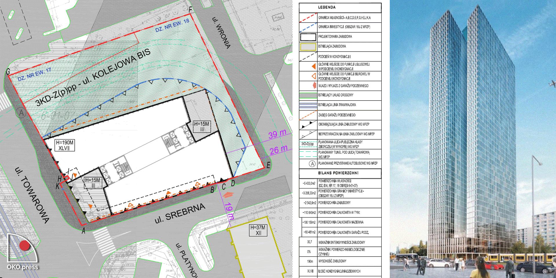 Plan parteru i wizualizacja jednej z wersji wieżowca przy Srebrnej 16