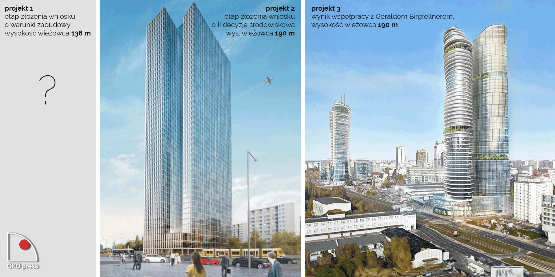 3 wersje projektu wysokościowca przy Srebrnej 16. Źródło: Gazeta Wyborcza, Eurobuild CEE