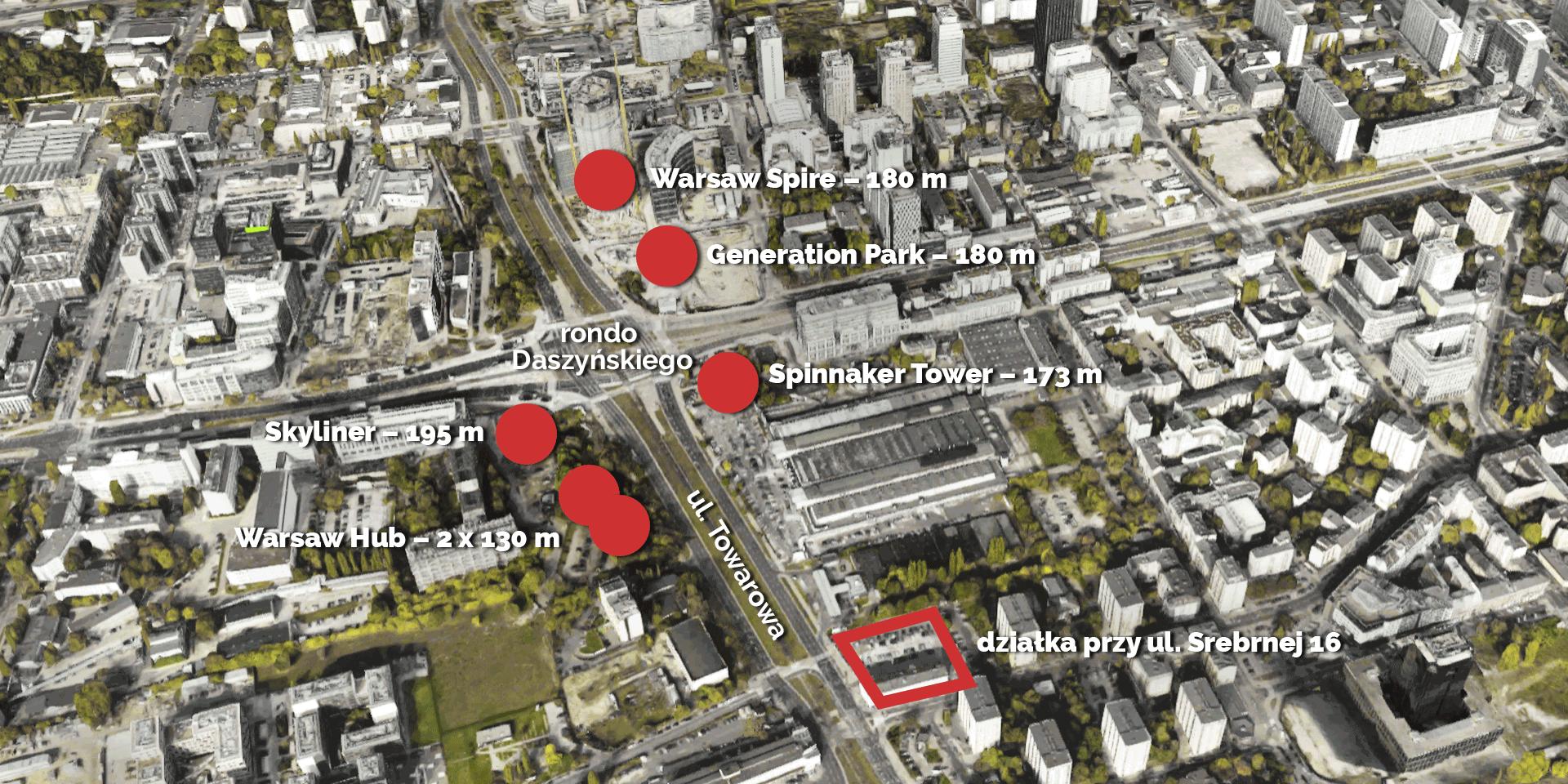 Widok z lotu ptaka z zaznaczeniem działki przy ul. Srebrnej i planowanych przy rondzie Daszyńskiego wieżowców. Zdj.: Google Maps