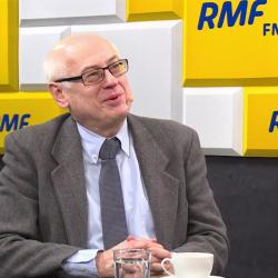 Zdzisław Krasnodębski z uśmieszkiem odpowiada w Radio RMF FM na pytanie o szanse partii Biedronia
