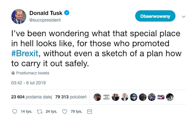 tweet Donalda Tuska o brexicie i piekle