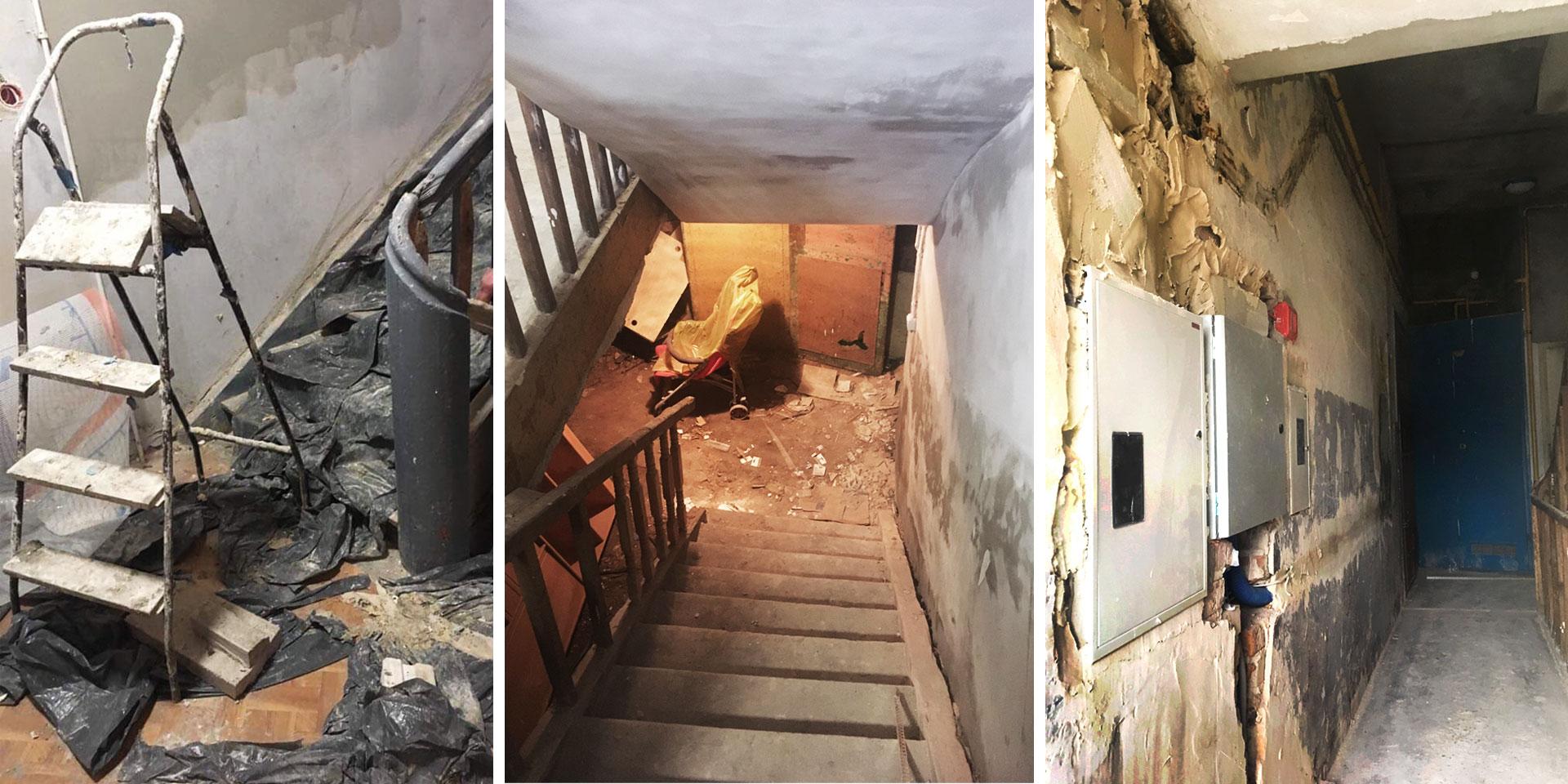 Remontowana w zimie klatka budynku przy ul. Mińskiej 13. Fot. 1: Lokatorka, 2-3: OKO.press
