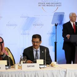 Mike Pence, wiceprezydent USA, podczas konferencji bliskowschodniej w Warszawie, 13-14 luty 2019