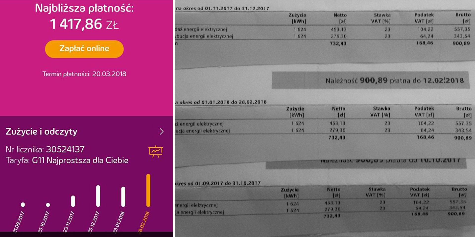 Przykładowe rachunki za prąd. Źródło: WSL
