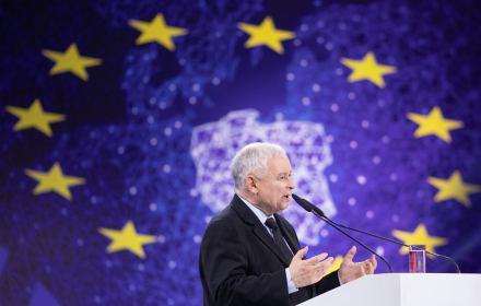 Jarosłąw Kaczyński przemawia na konwencji Prawa i Sprawiedliwości przed wyborami europejskimi