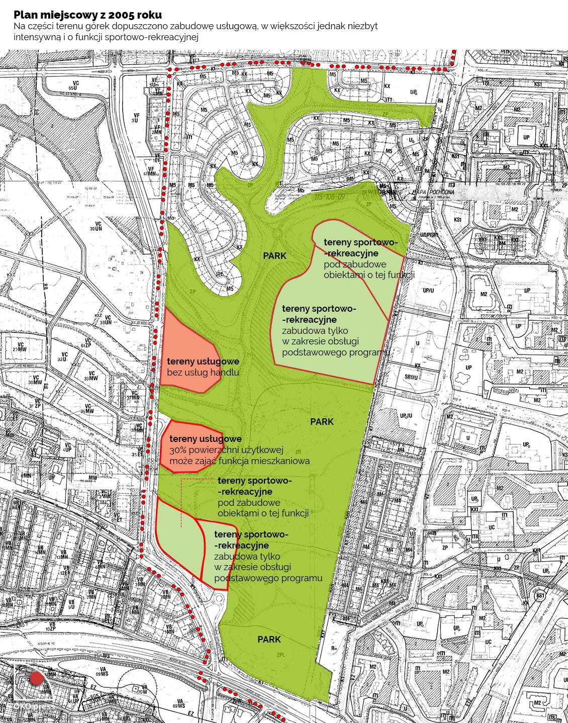 Rysunek planu miejscowego uchwalonego w 2015 roku