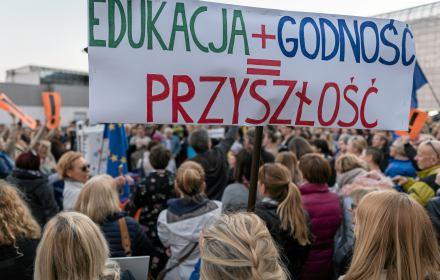 Demonstracja poparcia dla nauczycieli w Katowicach