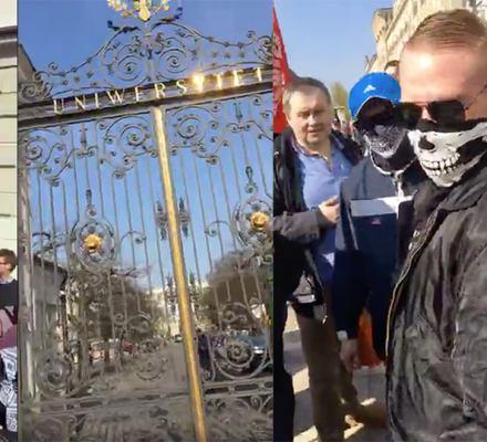 """Nacjonaliści przeciw """"lewackiej, żydowskiej ideologii"""" na uniwersytecie. Studenci ich zablokowali"""