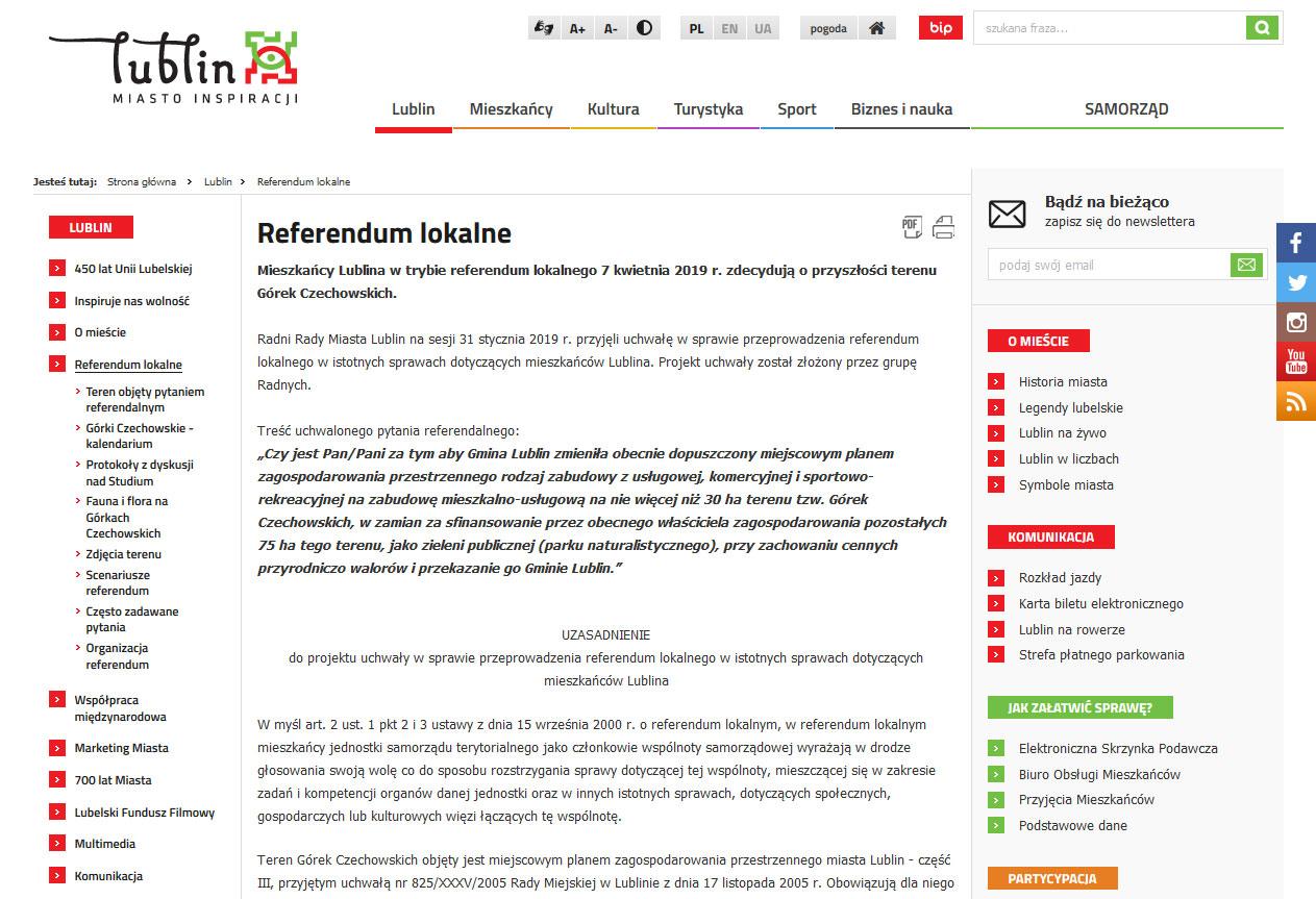 Zrzut ekranu BIP urzędu miasta Lublina