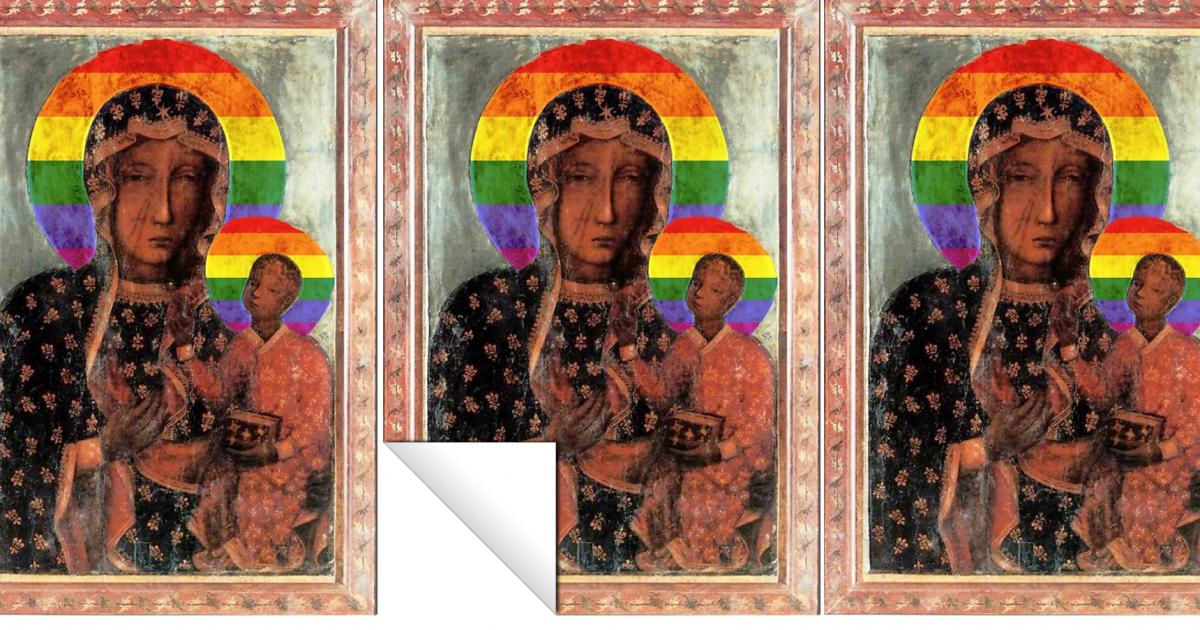 Matka Boska z tęczową aureolą